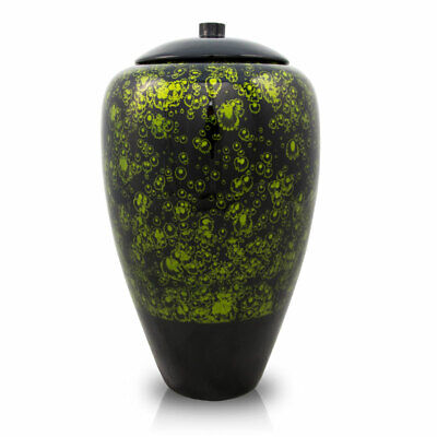 Bamboo Memorial Urns for Ashes - Large  Green Black