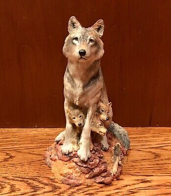 "1996 HAMILTON COLLECTION Wolves of the Wilderness ""Timid Trio"" Figurine"