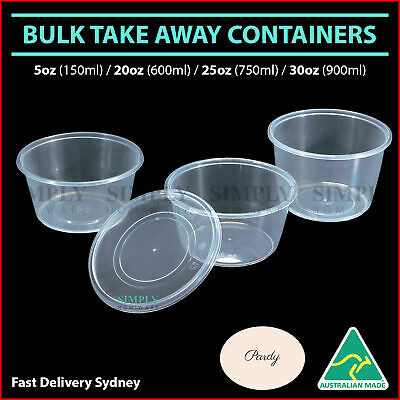 Take Away Containers Takeaway Food Plastic Round Sauce Bulk 5oz 20oz 25oz 30oz