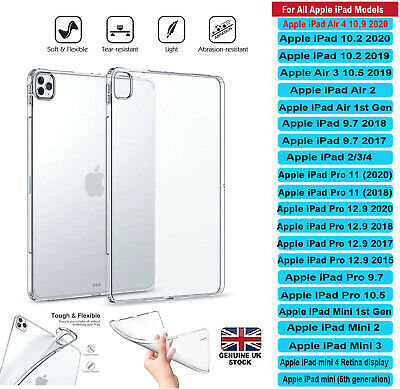 Transparent Clear Silicone Case Cover Apple iPad 2/3/4 AIR MINI PRO 10.5 10.2