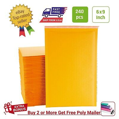 #00 250 PCS 5x9 Inches Kraft Bubble Mailers Padded Envelopes with Peel and Seal