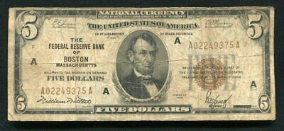 Fr. 1850-A 1929 $5 Frbn Federal Reserve Bank Note Boston, Ma