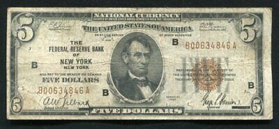 Fr. 1850-A 1929 $5 Frbn Federal Reserve Bank Note New York, Ny