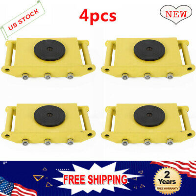 Set of 4 8 Ton Machinery Mover Roller Machine Dolly Skate 360°Cap w/ Steel Wheel