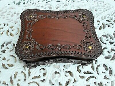 Vintage European Handcrafted Embossed Leather Decorative Box