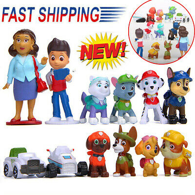 12X Paw Patrol Dog Puppy Rescue Character Toys Figure Figurine Cake Topper Gifts