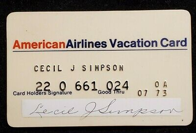 American Airlines Vacation credit card exp 1973♡free ship♡cc1196♡rare♡