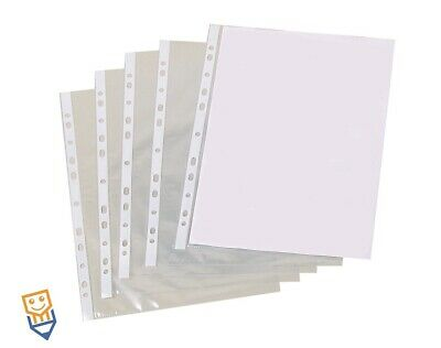 100 x A4 CLEAR PUNCHED POCKETS FILING WALLETS See Through Sleeves BY OfficeBuddy