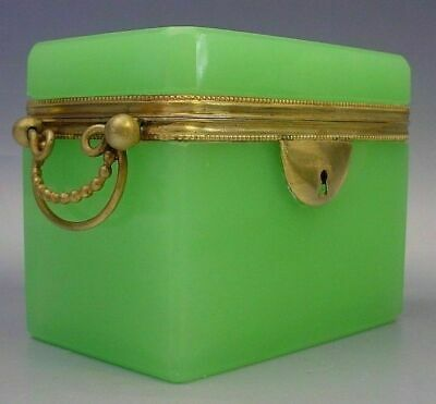 Antique French Green Opaline Double Handle Casket Hinged Box