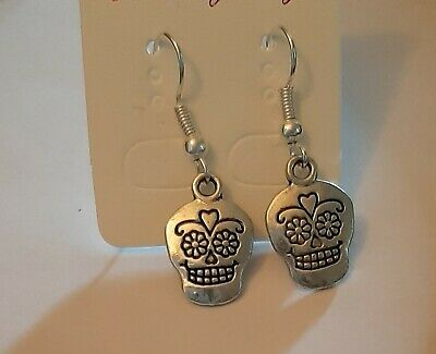 Sugar Skull Earrings Sterling Silver Hooks Day Of The Dead Punk Gothic New LB394