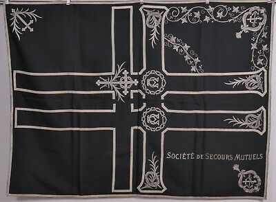 Religious funeral panel embroidery crosses French Societe de Secours Mutuels