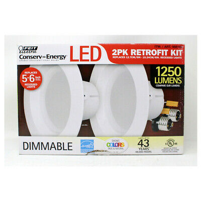 Feit Electric 5 x 6 inch LED Recessed Retrofit Kit with 120-Watt White 2 Pack