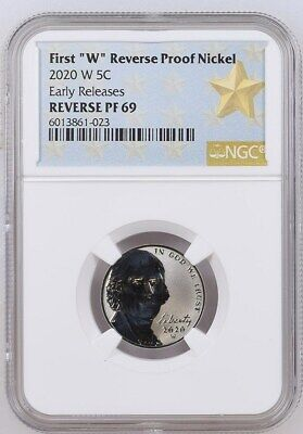 2020 First W Mint Reverse Proof Jefferson Nickel - Ngc Pf69 Er