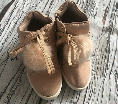 Girls Size 10 River Island Blush Pink Wedge Faux Suede Pom Pom Boots Worn Once