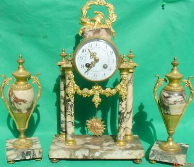 Antique French Marble Rococo Portico Garniture Urn Clock Set 93328