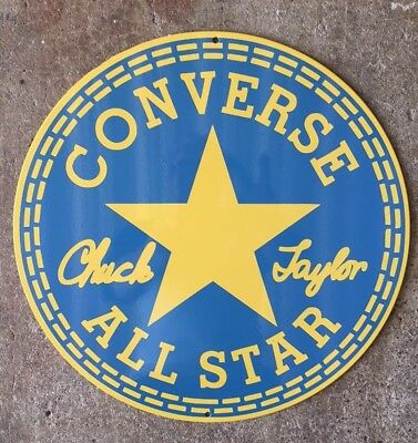 Converse All Star Chuck Taylor Basketball Shoes Label Round Vintage Steel Sign