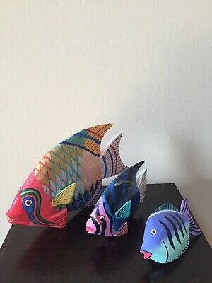 Lot of 3 Colorfully Painted Wooden Tropical Fish