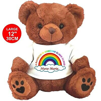 Personalised Beige Teddy Bear Nhs Rainbow Any Name Miss You 10% Donation To Nhs