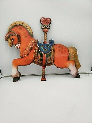 Large very detailed carousel horse door or wall hanging 26x19