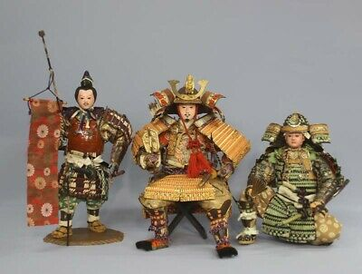 Antique Japanese Armed Samurai Doll, 3 Dolls Set Meiji Period