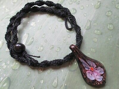 18 INCH Handmade Black Hemp Necklace with Pink Glass Flower Pendant
