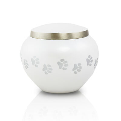 Paw Prints Bronze Pet Cremation Urn for Ashes - Small Pearl White