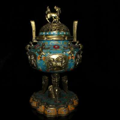 Collect Chinese Cloisonne Enamel Bronze Wire Inlay Kylin Tripodia Incense Burner