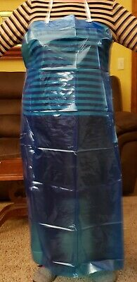 Plastic Reusable Aprons with ties, waste and neck. Color- Deep Blue.