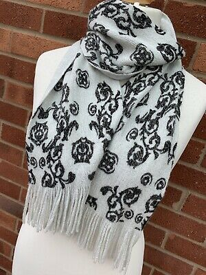 White Turquoise Love Heart Square Scarf Sparkly Silver Lurex Tassels Lightweight