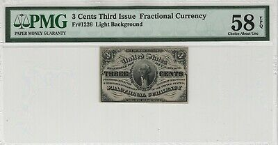 3 Cent Third Issue Fractional Postal Currency Fr.1226  PMG CERTIFIED AU58 EPQ