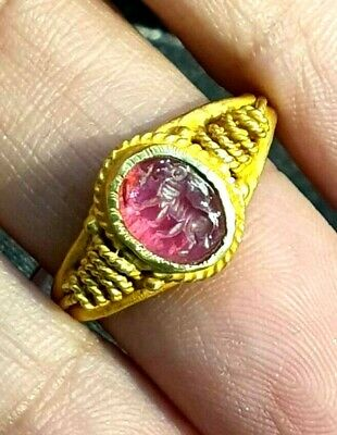 Ancient RARE!! Ruby Intaglio Greek Long Horn Ram Signet Solid 22K Gold Ring