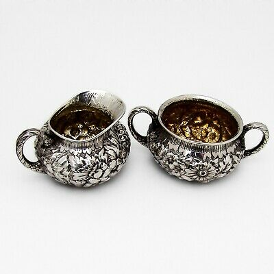 Repousse Creamer Sugar Bowl Set Wood Hughes Sterling Silver Mono