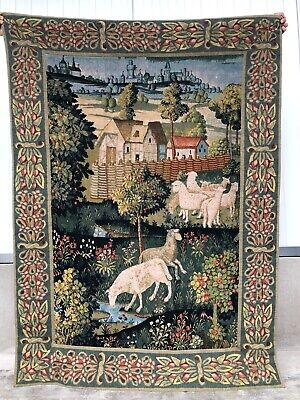 Stunning European Tapestry with landscape & Sheep 70.866 inch high