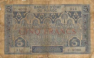 Morocco  5  Francs  ND. 1924  P 9  Series  C  Circulated Banknote AJ2