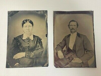 """2 Antique Tintype Photos Of Man And Women/Husband And Wife 7"""" X 5"""""""
