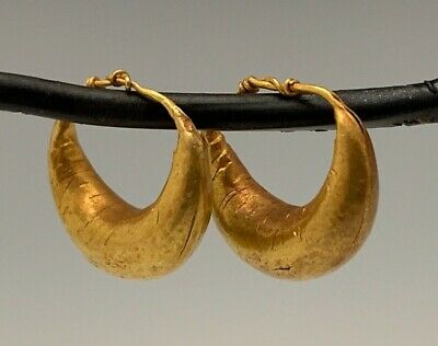 Ancient Roman-Byzantine Gold Hoop Earrings! Adorable Pair!