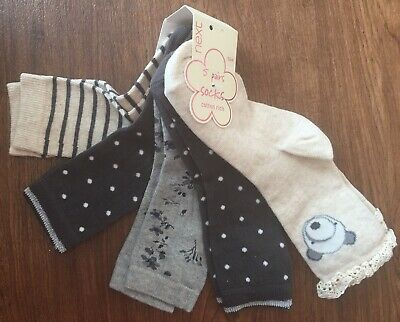 Bnwt Next 5 Pairs Of Girls Grey And Beige Socks Five Pack Size 9-12