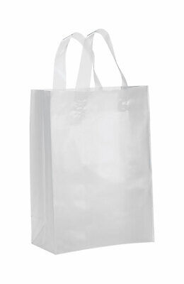 Medium Clear Frosted Plastic Gift Bags - Case of 25