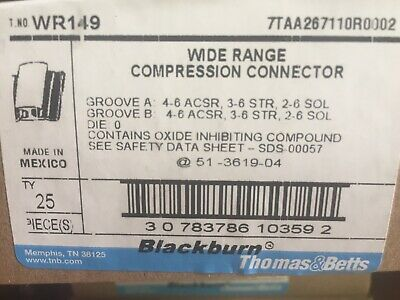BlackBurn H-tap Compression Connector WR-149, lot of 25, Free Shipping!