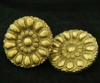 Antique Picture Nail Victorian Artwork Hanger Large  Beaded Brass Rosette Pair