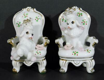 Vintage Pair of Poodles On Chairs Figurines with Spaghetti Trim
