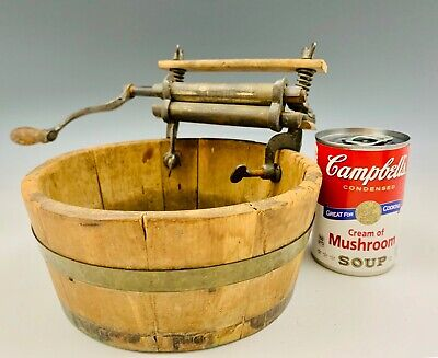 Antique Salesman's Sample Child Toy Size Horse Shoe Brand Wringer Wood Wash Tub