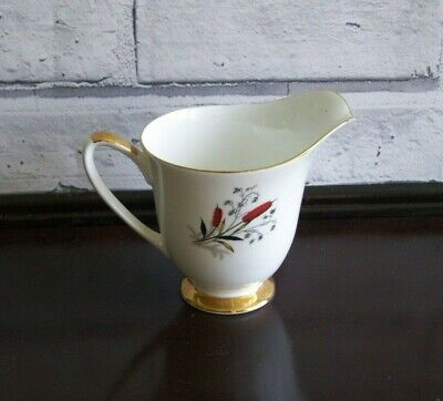 Windsor Bone China Milk Jug with Bullrush Design Made in England 8.5cm VGC