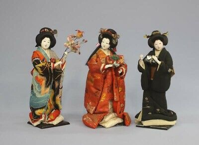 Antique Japanese Doll Kimono Young Woman Set Meiji Period