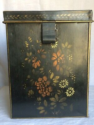 Antique Hand Painted Asian/Chinese Tin Tea Caddy Box W/Hinged Lid