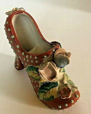 Vintage collectable China ceramic shoe figurine floral hand painted Japan