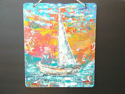Original Acrylic Painting 10 x12 Pressed Wood  Abstract Boat ,Beach Coastal Art