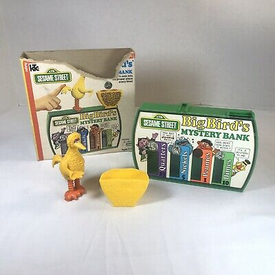 Big Bird Mystery Coin Bank 1976 Sesame Street Knickerbocker CTW Muppets with Box