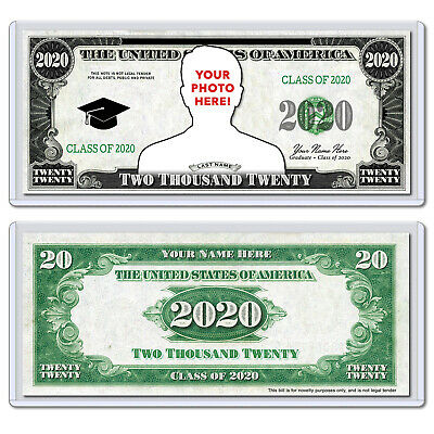 PERSONALIZED Class of 2020 Graduate Graduation Novelty Dollar Bill with Case