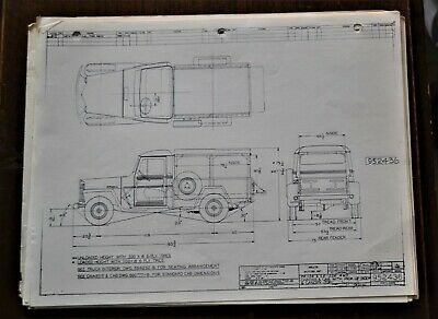 VTG 1960 Willys Motors Jeep Chassis Cab Pickup Canopy Top Mechanical Drawing